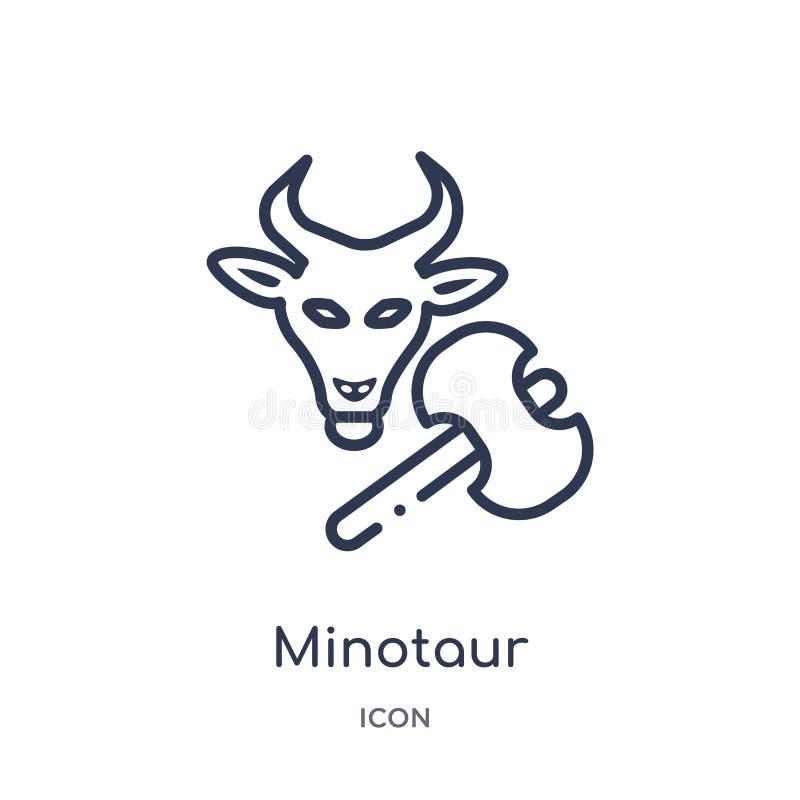 Liniowa minotaur ikona od Grecja konturu kolekcji Cienieje kreskową minotaur ikonę odizolowywającą na białym tle minotaur modny ilustracja wektor