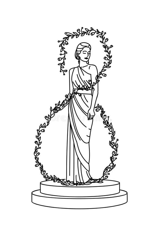 Liniowa nakreślenie ilustracja kobieta w kwiatach ilustracja wektor