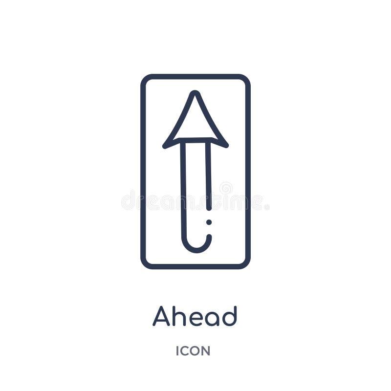Liniowa naprzód ikona od Raźnej kontur kolekcji Cienieje kreskowego naprzód wektor odizolowywającego na białym tle naprzód modna  ilustracja wektor