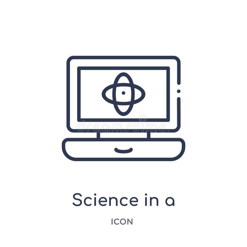 Liniowa nauka w laptop ikonie od edukacja konturu kolekcji Cienieje kreskową naukę w laptopu wektorze odizolowywającym na bielu ilustracja wektor