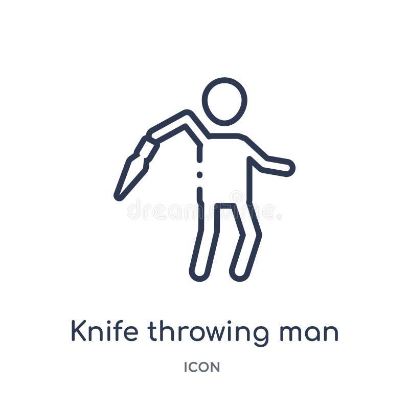 Liniowa nożowa miotanie mężczyzny ikona od Cyrkowej kontur kolekcji Cienki kreskowy nożowy miotanie mężczyzny wektor odizolowywaj ilustracji