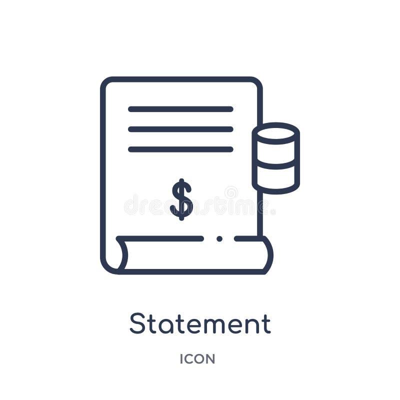 Liniowa oświadczenie ikona od etyka konturu kolekcji Cienieje kreskowego oświadczenie wektor odizolowywającego na białym tle oświ ilustracja wektor