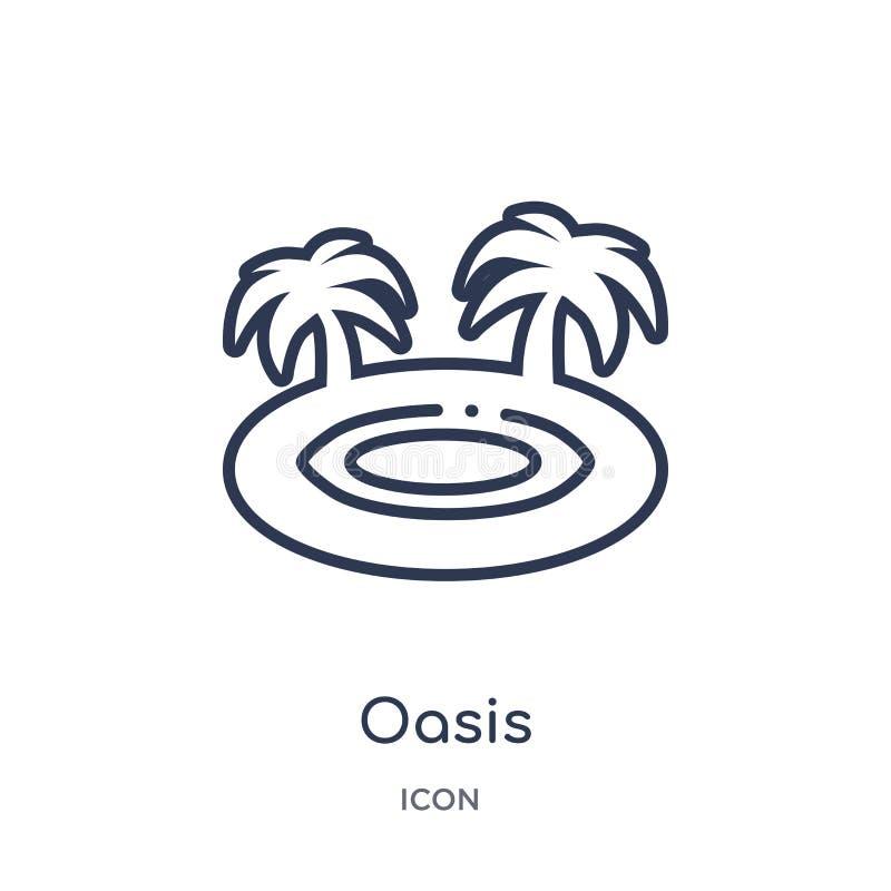 Liniowa oazy ikona od Afryka konturu kolekcji Cienieje kreskowego oaza wektor odizolowywającego na białym tle oazy modna ilustrac ilustracja wektor