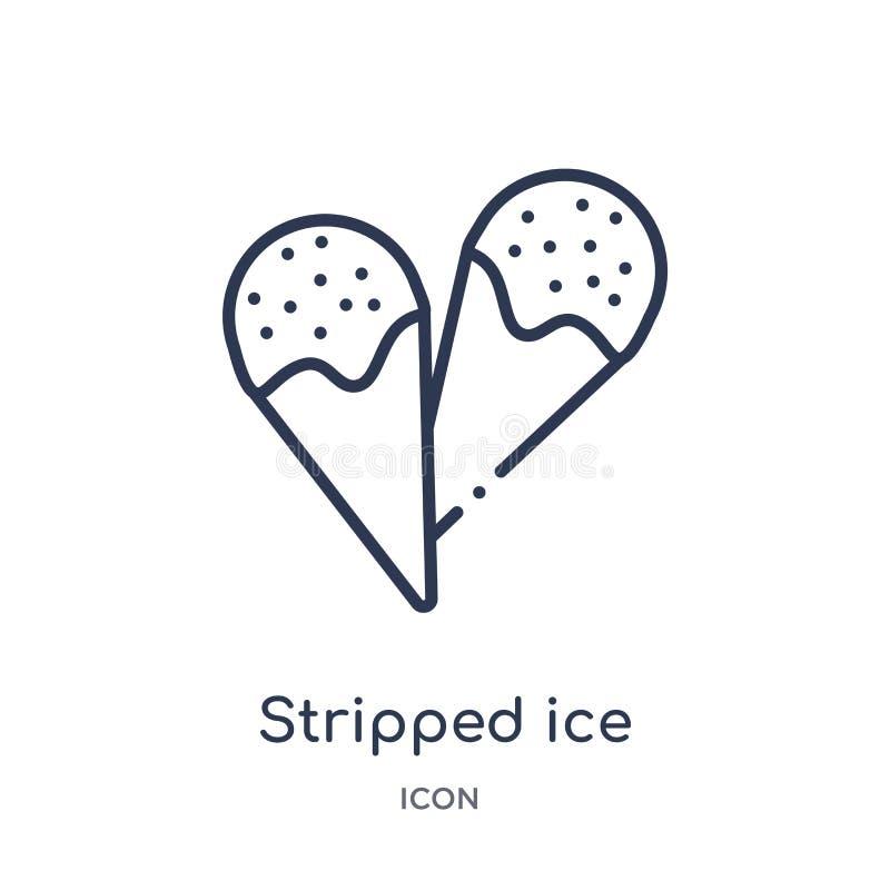 Liniowa obdzierająca lody rożka ikona od Kinowej kontur kolekcji Cienka linia obdzierający lody rożka wektor odizolowywający na b ilustracja wektor