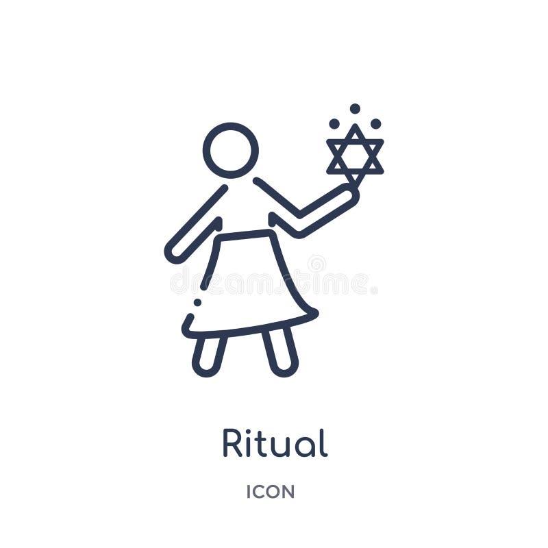 Liniowa obrządkowa ikona od Magicznej kontur kolekcji Cienieje kreskową obrządkową ikonę odizolowywającą na białym tle obrządkowa royalty ilustracja