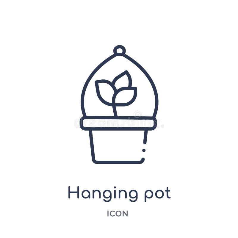 Liniowa obwieszenie garnka ikona od rolnictwa uprawia ziemię kontur kolekcję i uprawia ogródek Cienki kreskowy obwieszenie garnka ilustracji