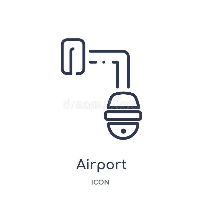 Liniowa ochrony lotniskiej kamery ikona od Lotniskowej śmiertelnie kontur kolekcji Cienieje kreskowego ochrony lotniskiej kamery  royalty ilustracja