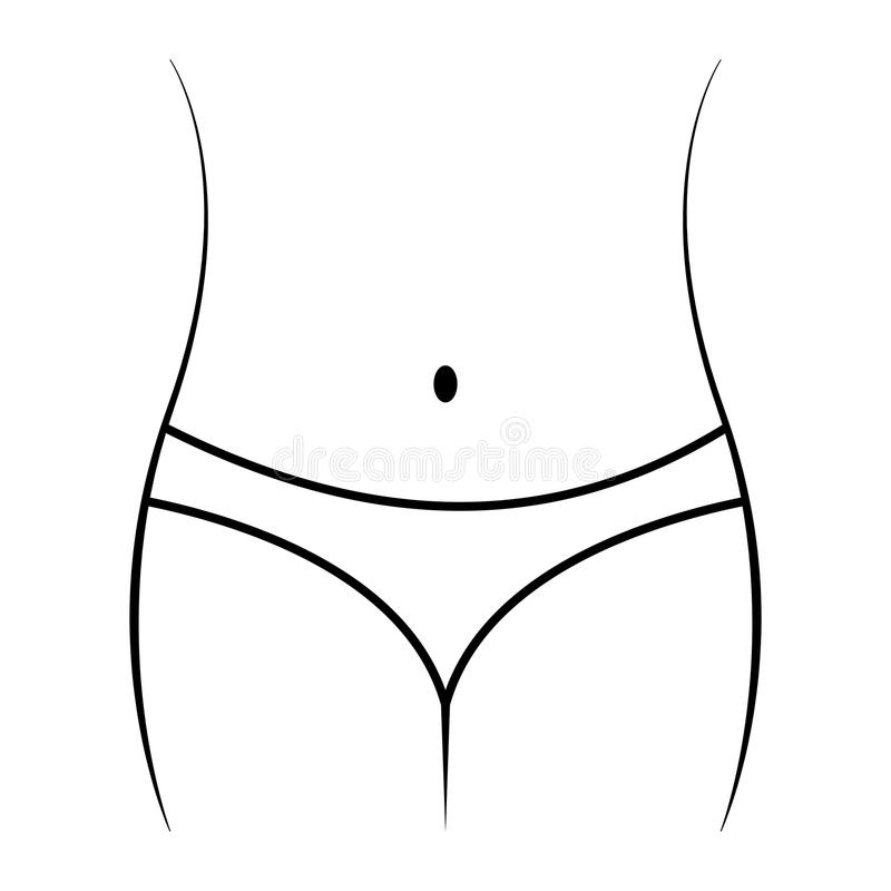 Liniowa odchudzająca ikona, pełen wdzięku żeńskiego ciała brzuch, talia i biodra, pojęcie dieta, sprawność fizyczna, sport Ikony  royalty ilustracja