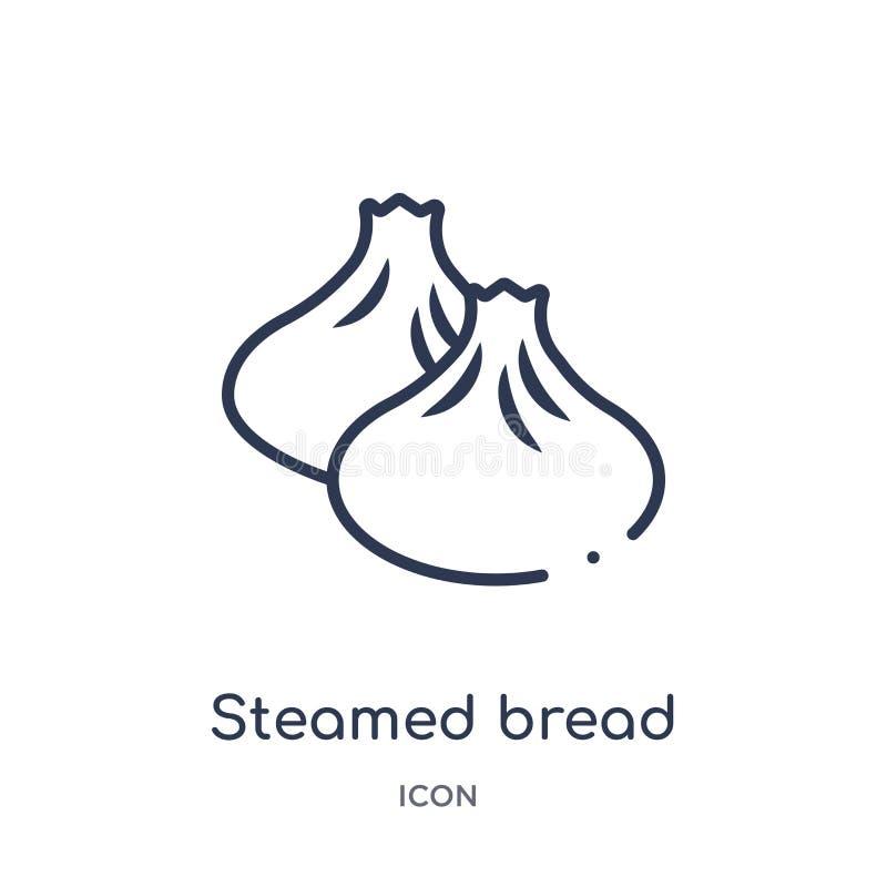 Liniowa odparowana chlebowa ikona od kultura konturu kolekcji Cienieje kreskowego odparowanego chlebowego wektor odizolowywająceg ilustracja wektor