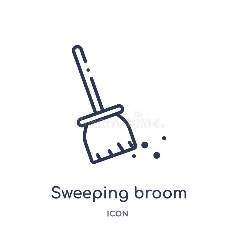 Liniowa ogólna miotły ikona od budowa konturu kolekcji Cienieje kreskowego ogólnego miotła wektor odizolowywającego na białym tle ilustracja wektor
