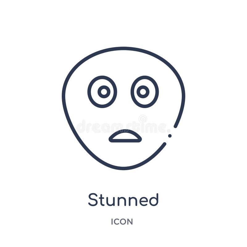 Liniowa ogłuszona ikona od emocja konturu kolekcji Cienieje linia oszałamiającego wektor odizolowywającego na białym tle ogłuszon ilustracja wektor
