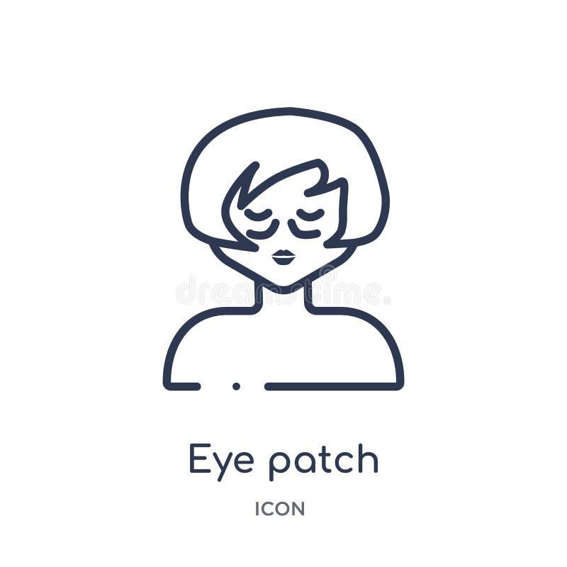 Liniowa oko łaty ikona od piękno konturu kolekcji Cienki kreskowy oko łaty wektor odizolowywający na białym tle oko łata modna ilustracja wektor