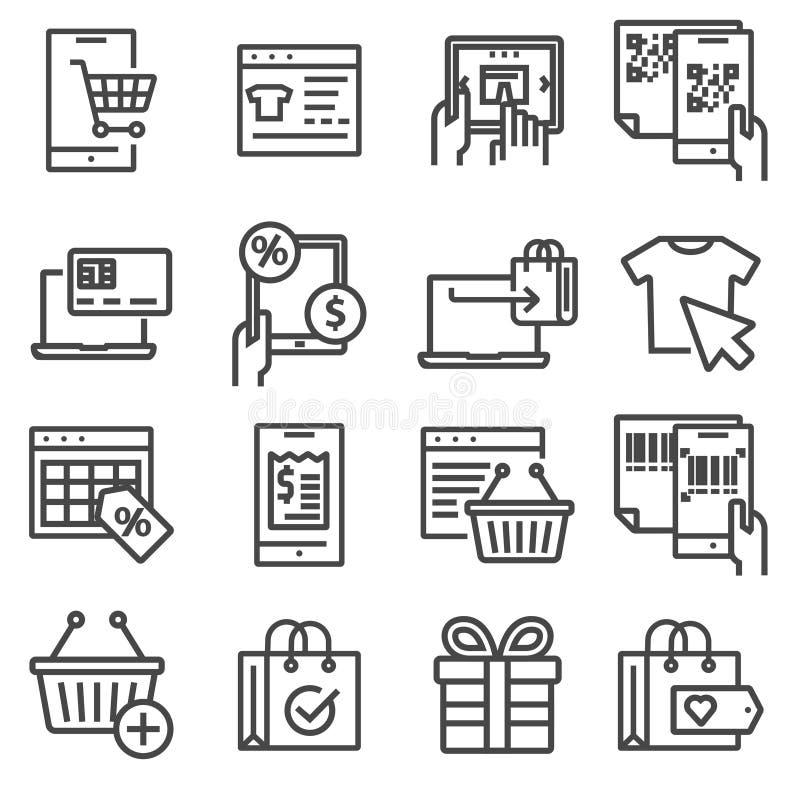 Liniowa online zakupy, handel elektroniczny ikony ustawiać royalty ilustracja