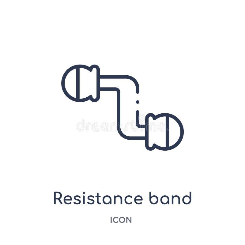 Liniowa oporu zespołu ikona od Gym i sprawność fizyczna zarysowywamy kolekcję Cienka kreskowa oporu zespołu ikona odizolowywająca ilustracji