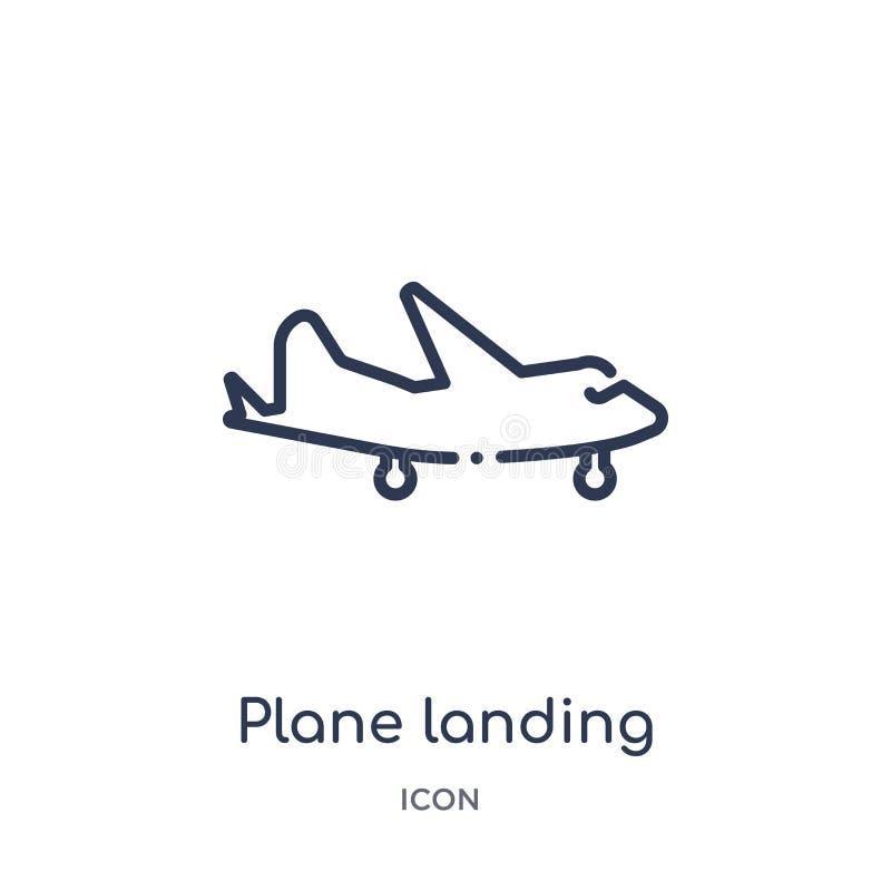Liniowa płaska desantowa ikona od Lotniskowej śmiertelnie kontur kolekcji Cienkiego linia samolotu desantowy wektor odizolowywają ilustracji