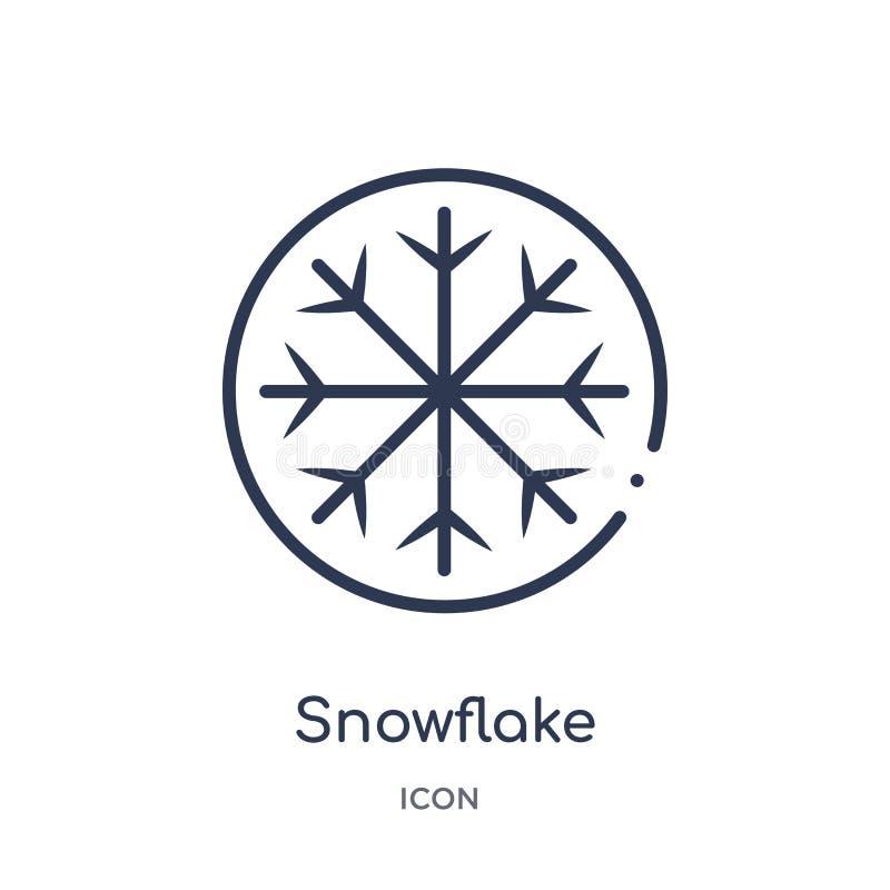 Liniowa płatek śniegu ikona od Hokejowej kontur kolekcji Cienieje kreskową płatek śniegu ikonę odizolowywającą na białym tle płat ilustracji