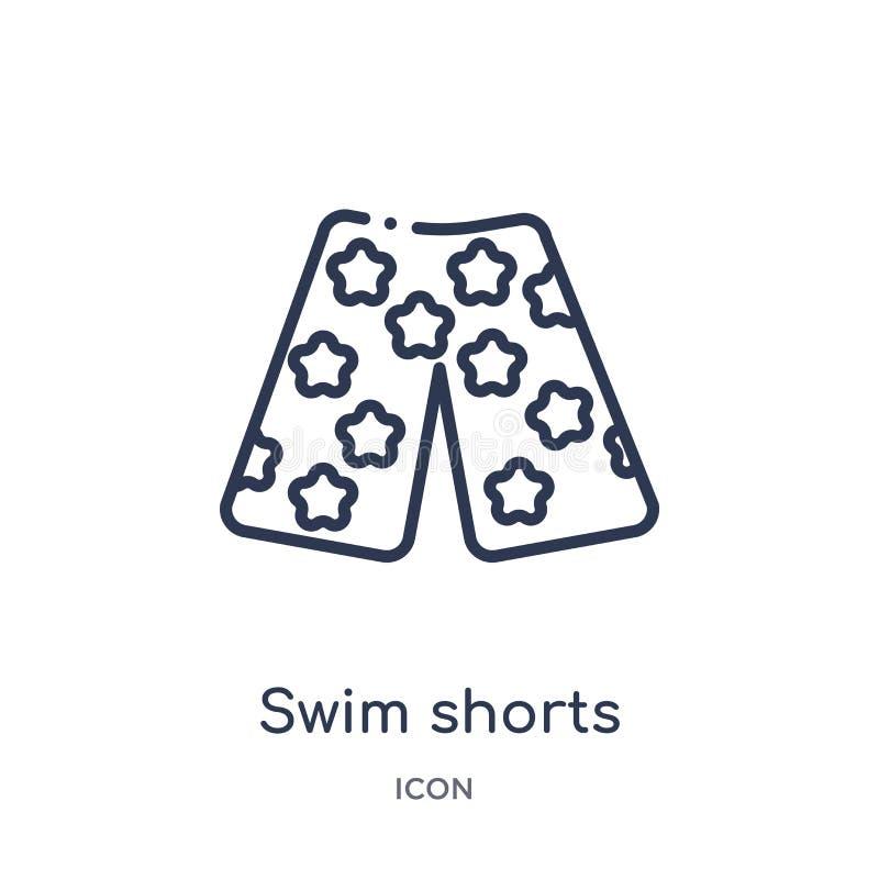 Liniowa pływanie skrótów ikona od ubrań zarysowywa kolekcję Cienki kreskowy pływanie zwiera wektor odizolowywającego na białym tl ilustracja wektor
