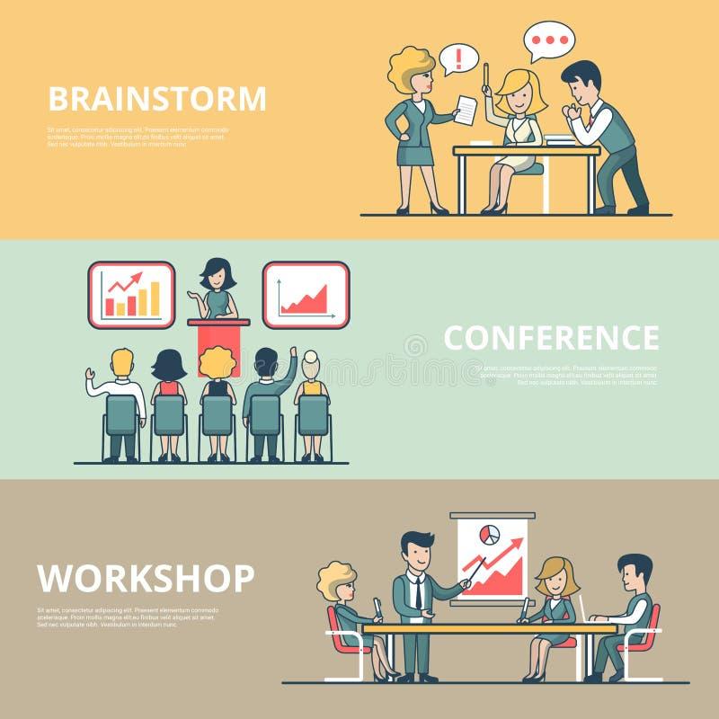 Liniowa Płaska Biznesowego mężczyzna warsztata konferencja ilustracji