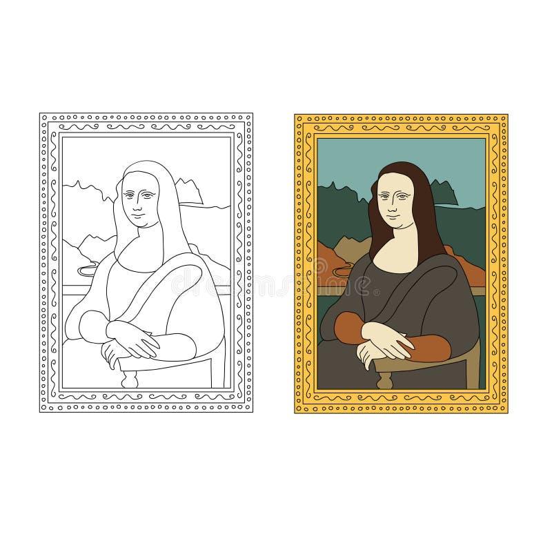 Liniowa płaska ilustracja portret Mona Lisa Leonardo Da Vinci royalty ilustracja