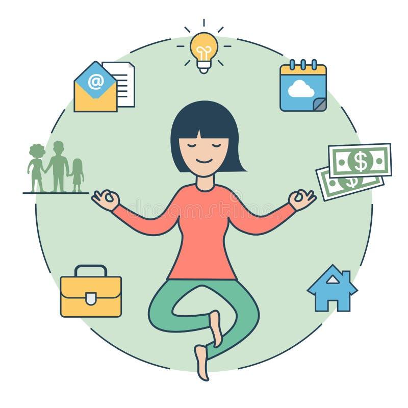 Liniowa Płaska kobieta levitate Zen domowego rodzinnego pieniądze ilustracji