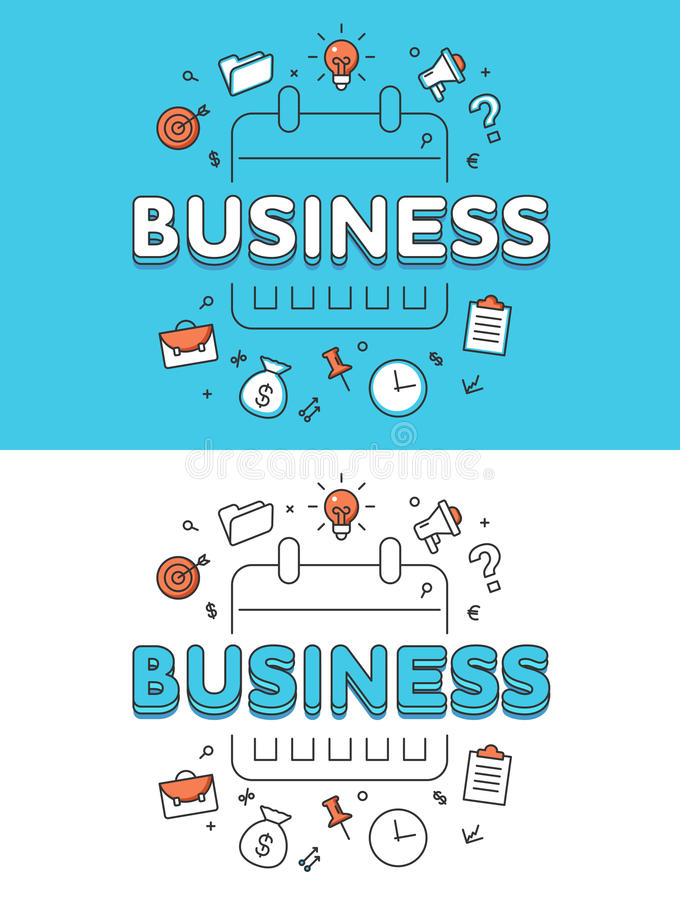 Liniowa Płaska planu biznesowego kalendarza rozkładu strona internetowa ilustracji