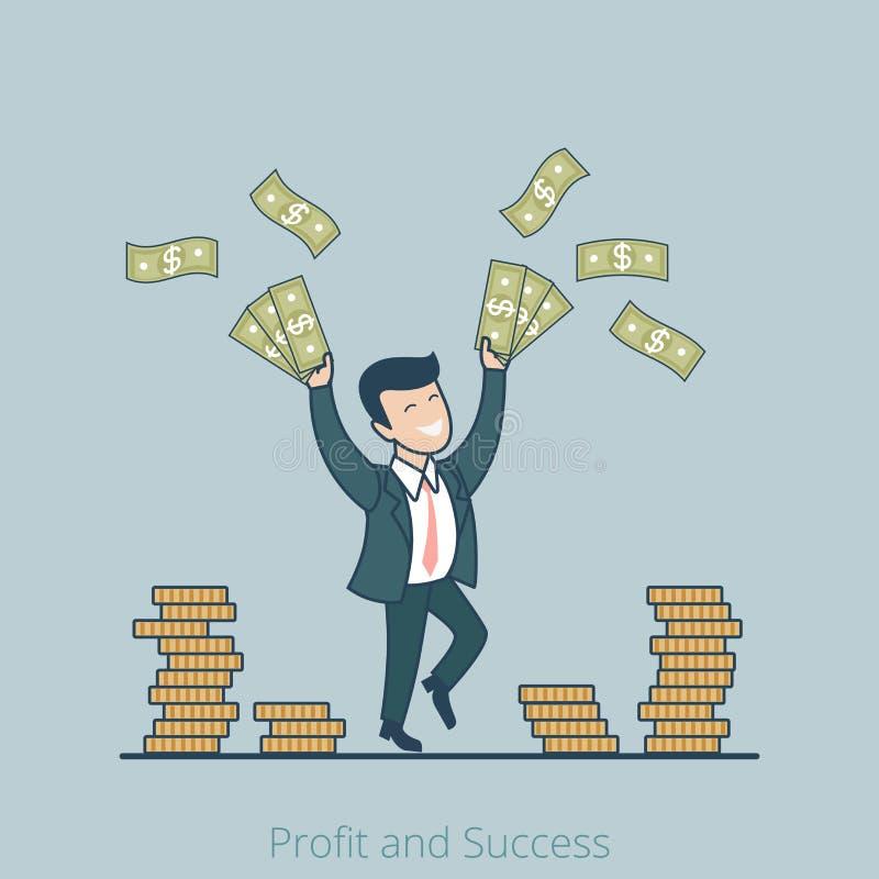 Liniowa Płaska sukcesu biznesowego mężczyzna zysku wektoru bolączka ilustracji