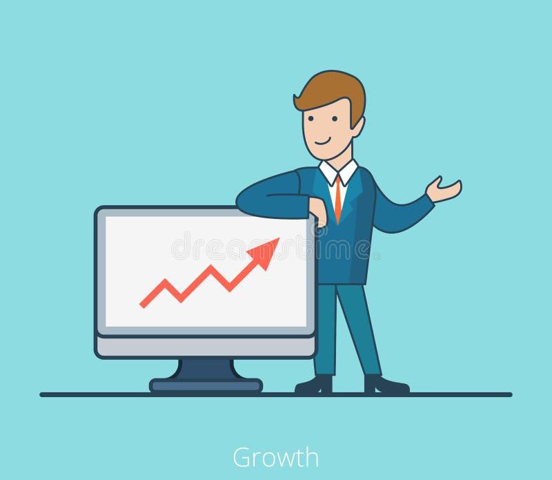 Liniowa Płaska Wzrostowa biznesowego mężczyzna monitoru grafika royalty ilustracja
