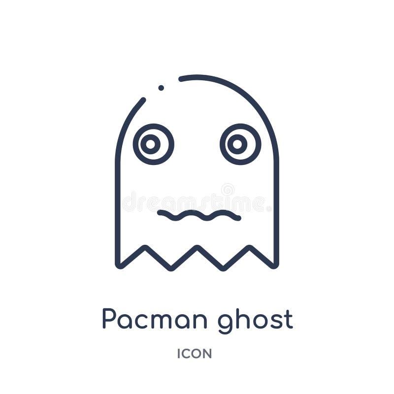 Liniowa pacman ducha ikona od rozrywki i arkada zarysowywamy kolekcję Cienieje kreskowego pacman ducha wektor odizolowywającego n ilustracja wektor