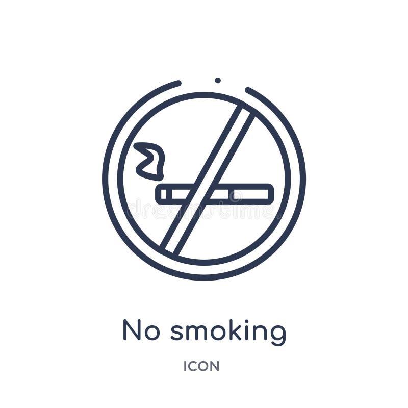 Liniowa palenie zabronione ikona od Hotelowej kontur kolekcji Cienieje kreskową palenie zabronione ikonę odizolowywającą na biały royalty ilustracja