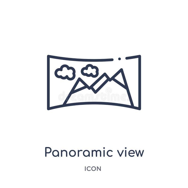 Liniowa panoramicznego widoku ikona od Przyszłościowej technologia konturu kolekcji Cienieje kreskową panoramicznego widoku ikonę ilustracja wektor