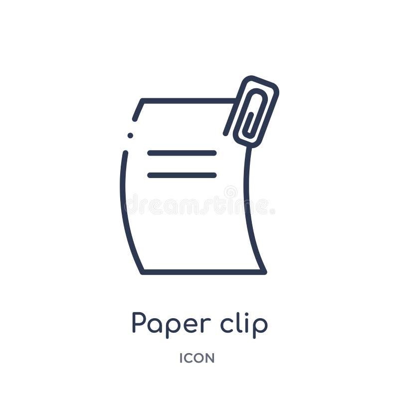 Liniowa papierowej klamerki ikona od Redaguje kontur kolekcję Cienieje kreskowego papierowej klamerki wektor odizolowywającego na ilustracji