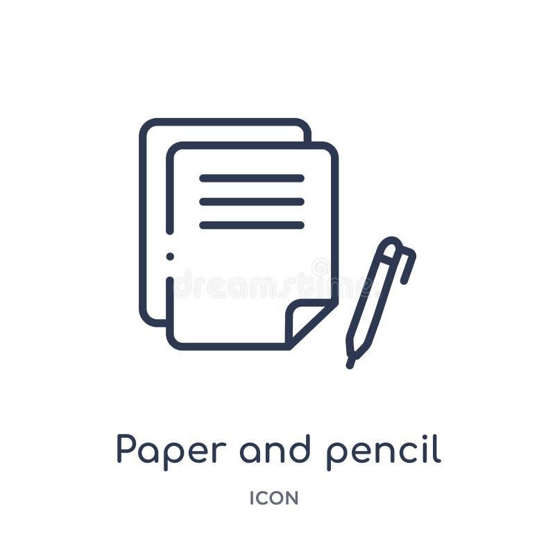 Liniowa papieru i ołówka ikona od Redaguje kontur kolekcję Cienka linia papierowa i ołówkowy wektor odizolowywający na białym tle ilustracji