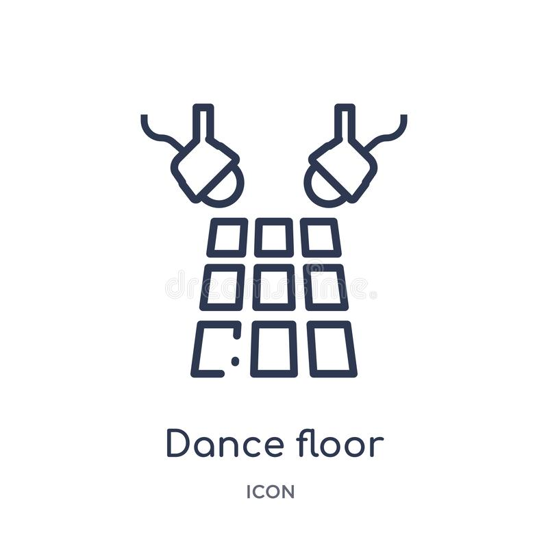 Liniowa parkiet taneczny ikona od Discotheque konturu kolekcji Cienieje kreskowego parkietu tanecznego wektor odizolowywającego n ilustracji