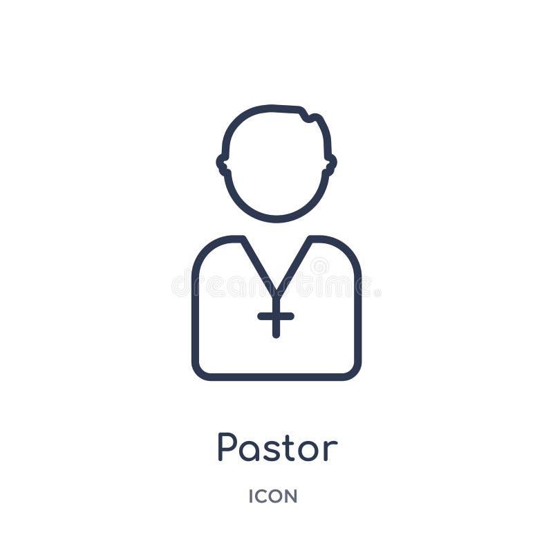 Liniowa pastor ikona od przyjęcie urodzinowe konturu kolekcji Cienieje kreskowego pastora wektor odizolowywającego na białym tle  royalty ilustracja
