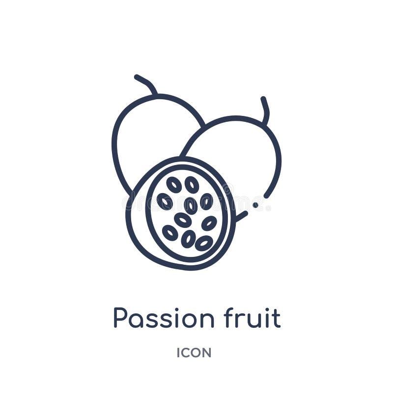 Liniowa pasyjnej owoc ikona od owoc zarysowywa kolekcję Cienieje kreskową pasyjnej owoc ikonę odizolowywającą na białym tle Pasyj ilustracji