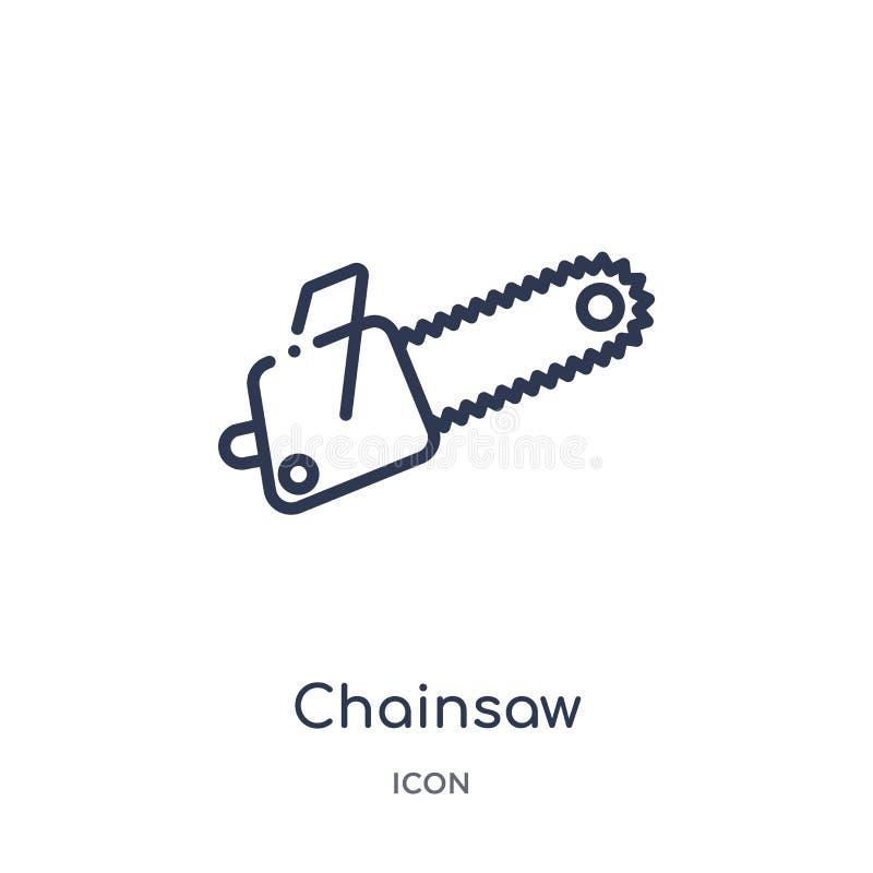 Liniowa piły łańcuchowej ikona od Przyszłościowej technologia konturu kolekcji Cienieje kreskową piły łańcuchowej ikonę odizolowy ilustracji