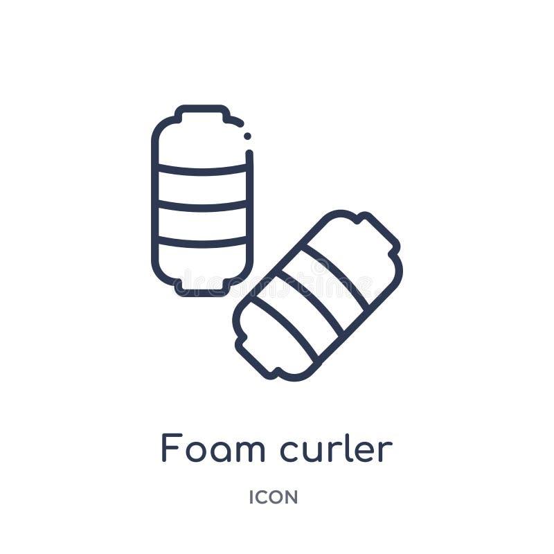 Liniowa piankowa curler ikona od piękno konturu kolekcji Cienki linii piany curler wektor odizolowywający na białym tle piankowy  ilustracja wektor