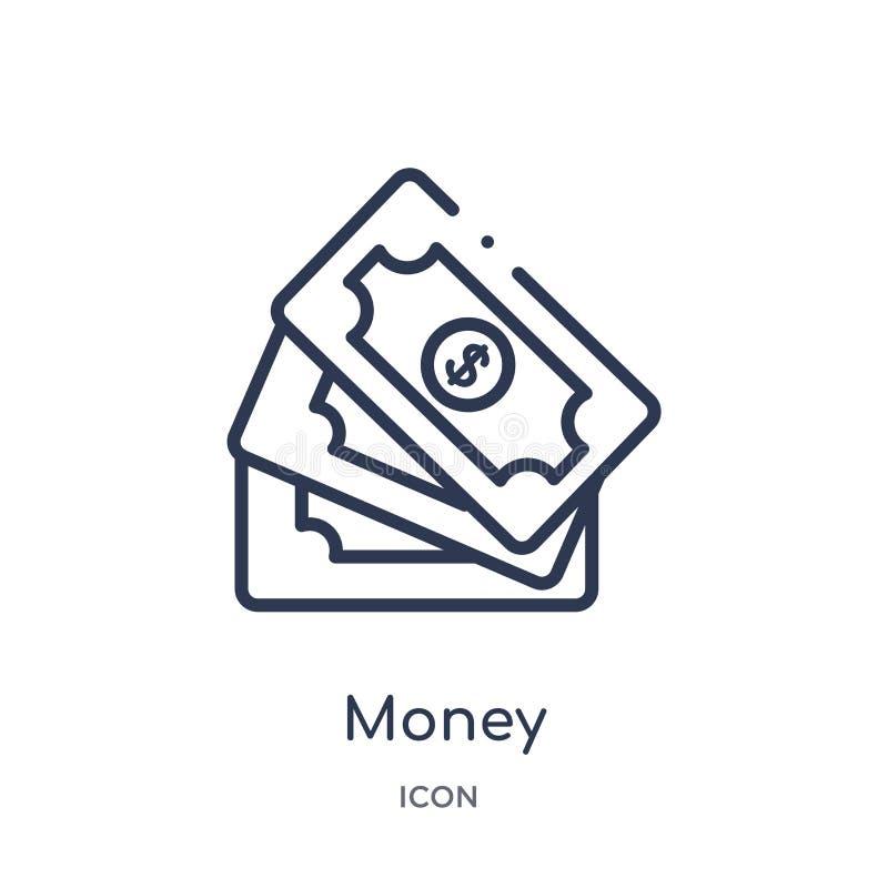 Liniowa pieniądze ikona od Cyfrowej gospodarki konturu kolekcji Cienieje kreskowego pieniądze wektor odizolowywającego na białym  royalty ilustracja