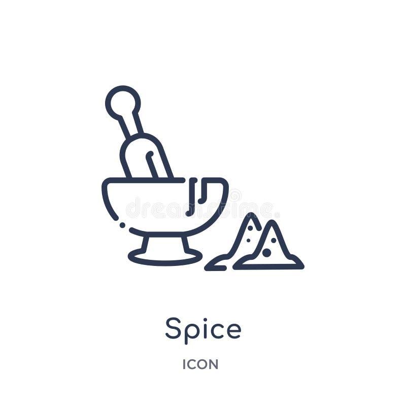 Liniowa pikantności ikona od Gastronomy konturu kolekcji Cienieje kreskową pikantności ikonę odizolowywającą na białym tle pikant royalty ilustracja