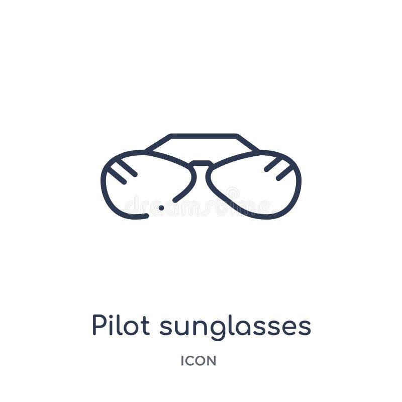 Liniowa pilotowa okulary przeciwsłoneczni ikona od ubrań zarysowywa kolekcję Cienki linia pilota okularów przeciwsłonecznych wekt ilustracja wektor