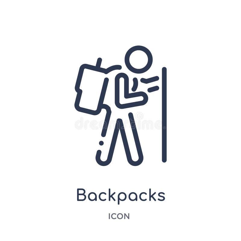 Liniowa plecak ikona od aktywności i hobby zarysowywamy kolekcję Cienieje kreskowego plecaka wektor odizolowywającego na białym t royalty ilustracja