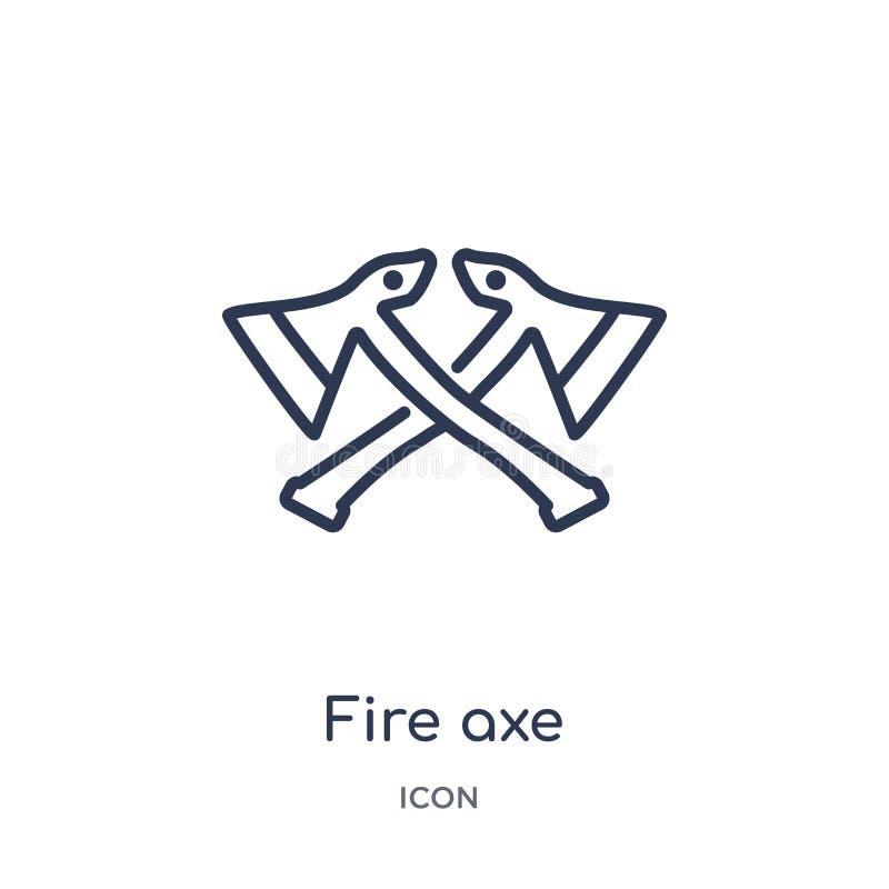 Liniowa pożarnicza cioski ikona od Ogólnego konturu kolekcji Cienka linia ogienia cioski ikona odizolowywająca na białym tle poża ilustracji
