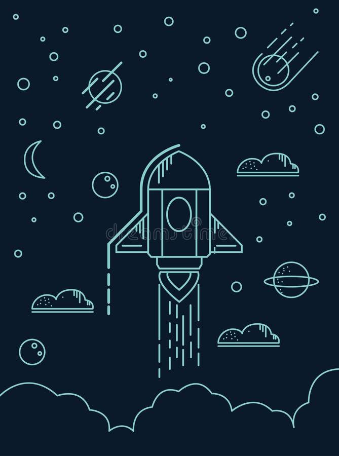 Liniowa Początkowa projekta wektoru ilustracja Rakietowy lunch i dym Niebo z chmurami, planety, ilustracja wektor