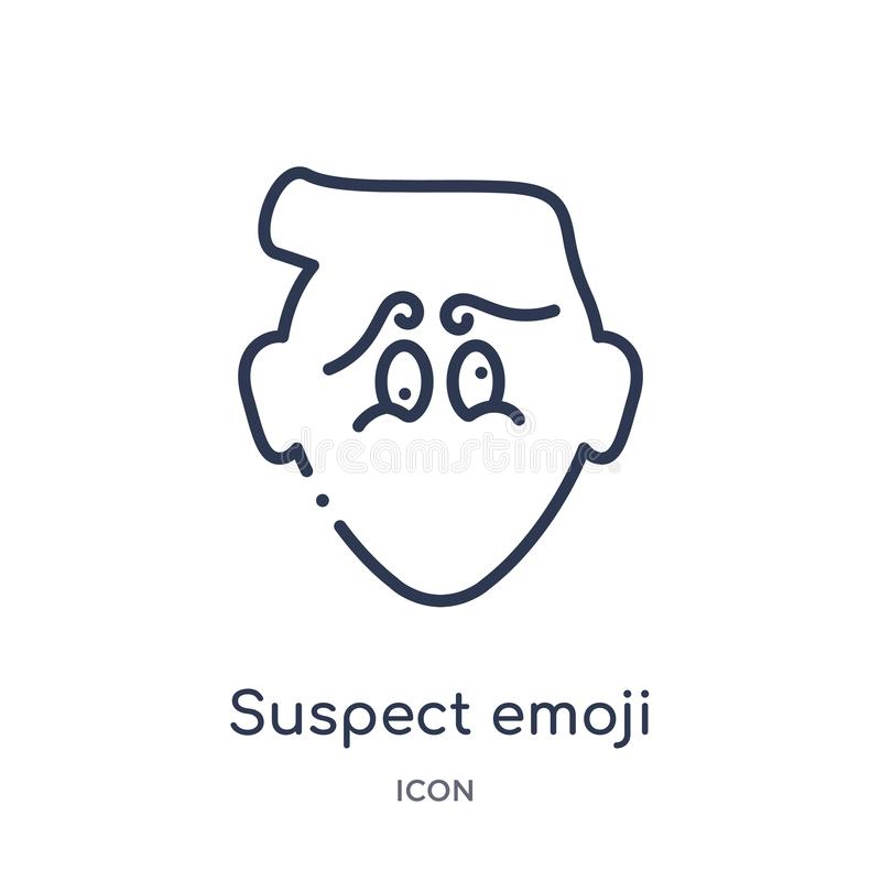 Liniowa podejrzana emoji ikona od Emoji konturu kolekcji Cienki linia podejrzany emoji wektor odizolowywający na białym tle podej ilustracja wektor