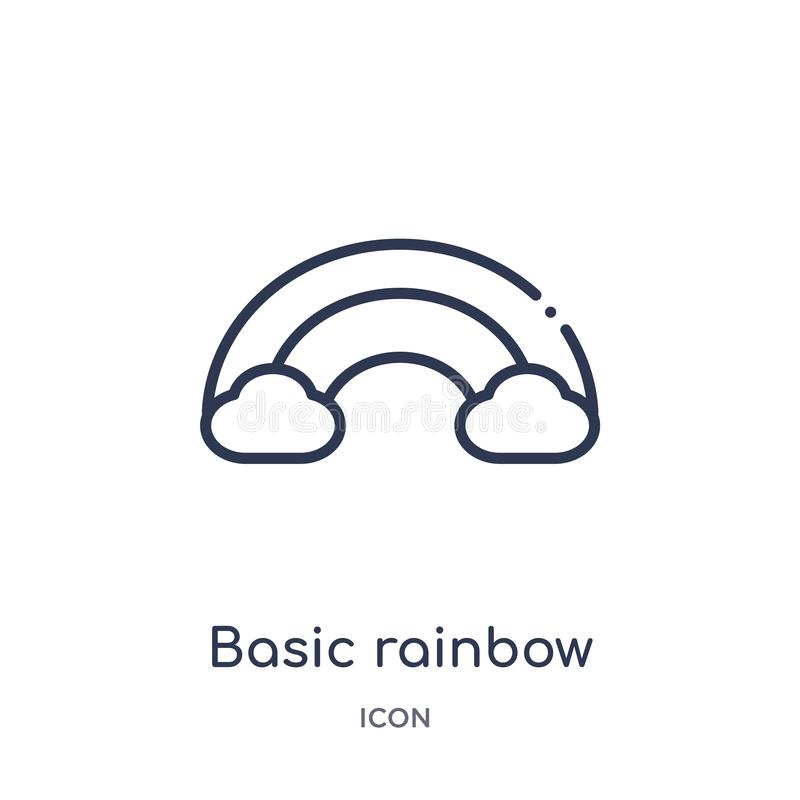 Liniowa podstawowa tęczy ikona od edukacja konturu kolekcji Cienieje kreskową podstawową tęczy ikonę odizolowywającą na białym tl royalty ilustracja