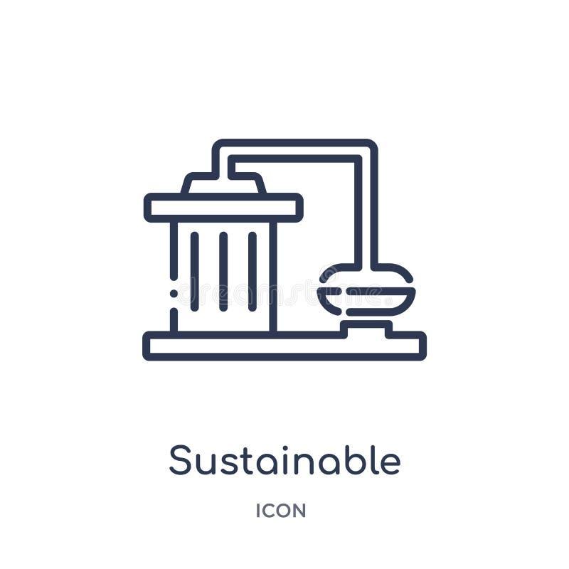 Liniowa podtrzymywalna fabryczna ikona od ekologia konturu kolekcji Cienieje kreskowego podtrzymywalnego fabrycznego wektor odizo royalty ilustracja