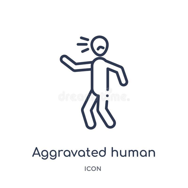 Liniowa pogarszająca ludzka ikona od uczuć zarysowywa kolekcję Cienieje kreskowego pogarszającego ludzkiego wektor odizolowywając ilustracja wektor