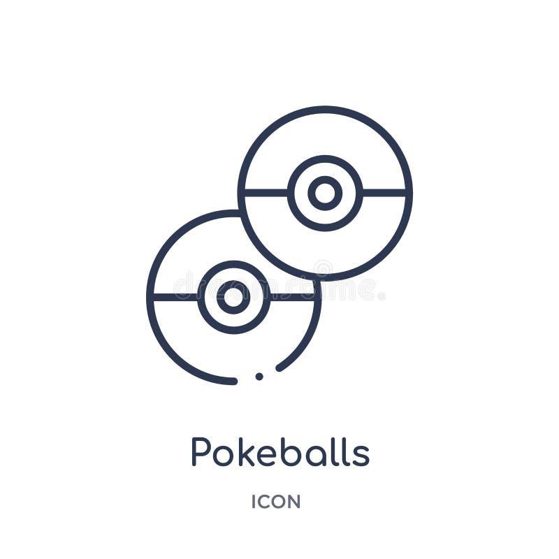 Liniowa pokeballs ikona od rozrywki i arkada zarysowywamy kolekcję Cienieje kreskowego pokeballs wektor odizolowywającego na biał royalty ilustracja