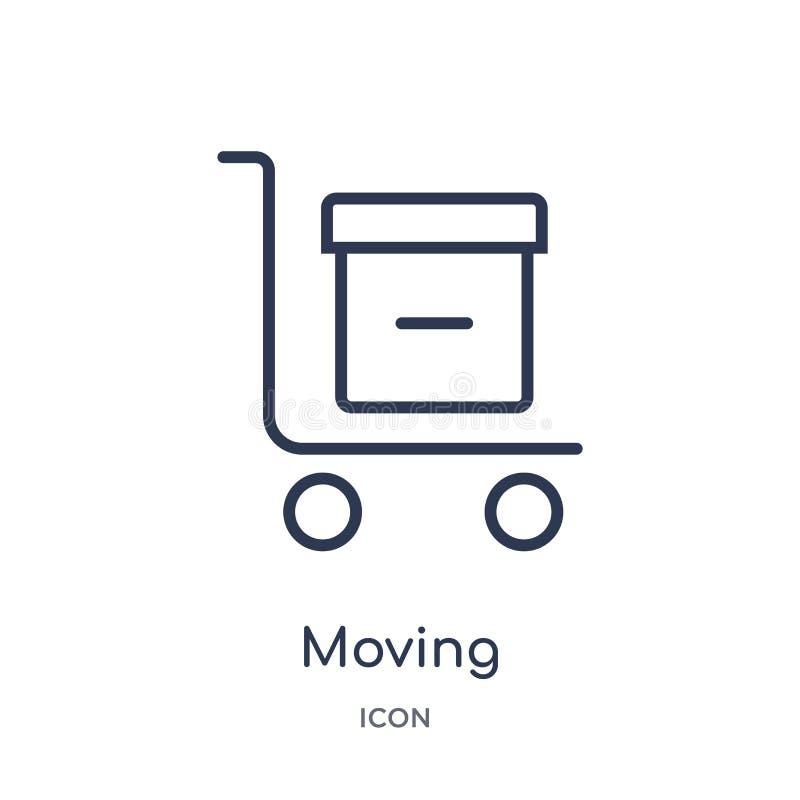 Liniowa poruszająca ikona od Doręczeniowej i logistycznie kontur kolekcji Cienieje kreskowego poruszającego wektor odizolowywając royalty ilustracja