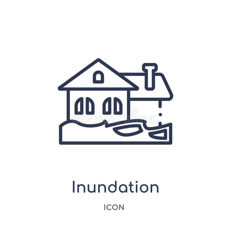 Liniowa powodziowa ikona od Asekuracyjnej kontur kolekcji Cienieje kreskową powodziową ikonę odizolowywającą na białym tle inunda ilustracji